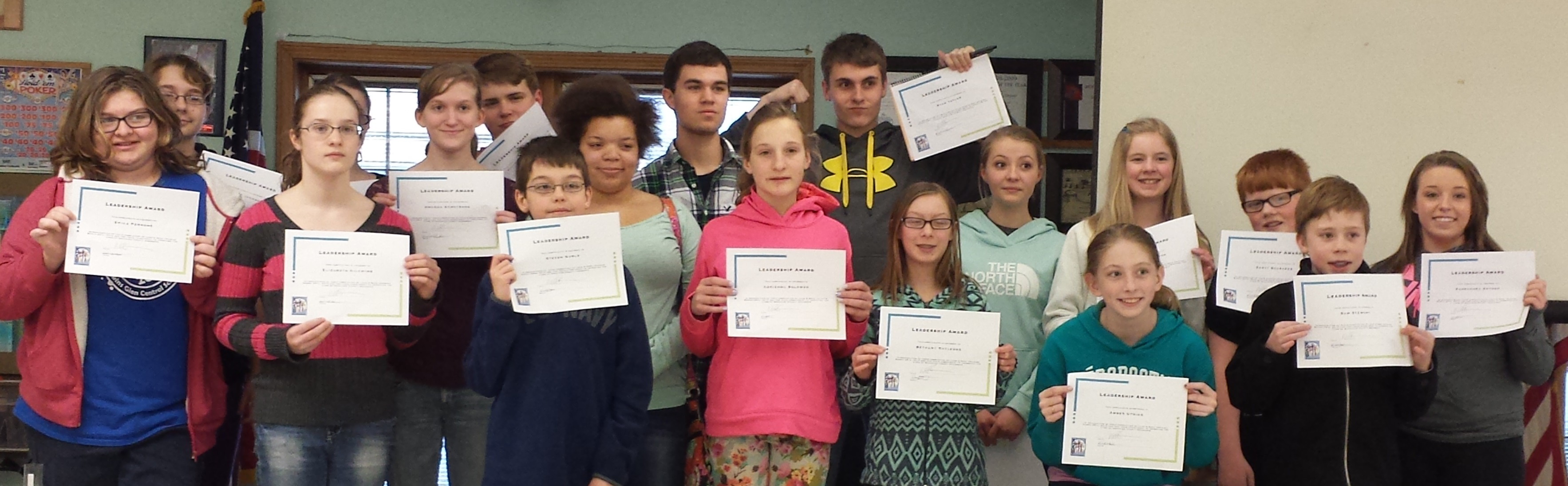 Youth leaders display awards earned at training